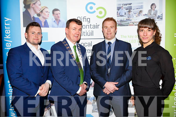 The three Kerry representitives, Niall Harty (Origin Health Protein Bars), Mayor of Kerry, Cllr John Sheehan, Rob Durran (Xintec Solutions) and Caroline Birch (Wild Adventure Way) at the final of the Ireland's Best Young Entrepreneur Regional Awards on Tuesday night last in the Ballygarry House Hotel, Tralee.
