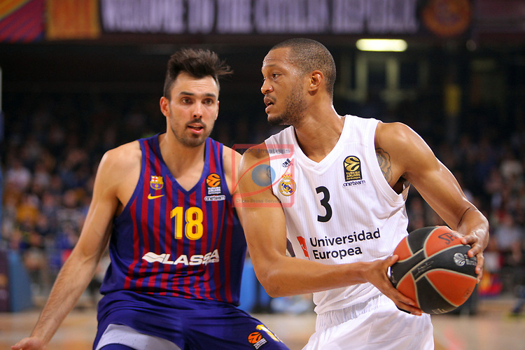 Turkish Airlines Euroleague 2018/2019. <br /> Regular Season-Round 24.<br /> FC Barcelona Lassa vs R. Madrid: 77-70. <br /> Pierre Oriola vs Anthony Randolph.