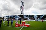 04.08.18 St Mirren v Dundee: Chairman Gordon Scott unfurls the championship league flag