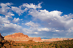 Main cañon toward Fruita from Panorama Point, late afternoon and clouds from breaking storm, Capitol Reef National Park, Utah
