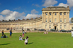 Royal Crescent Hotel and Spa, Bath - United Kingdom. Tourist enjoying day on lawn.