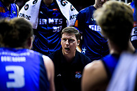 Giants coach Jamie Peralman talks to his team during the national basketball league semifinal match between Nelson Giants and Southland Sharks at TSB Bank Arena in Wellington, New Zealand on Saturday, 4 August 2018. Photo: Dave Lintott / lintottphoto.co.nz