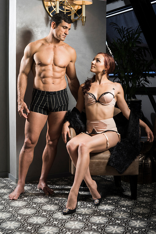 Sunday Mail Fashion, Intimate Apparel, Jess and Jeronimo from Le Noir the Dark Side of Cirque at the Mayfair Hotel Adelaide. Photo: Nick Clayton