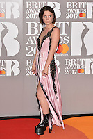 Billie JD Porter<br /> The Brit Awards at the o2 Arena, Greenwich, London, England on February 22, 2017.<br /> CAP/PL<br /> &copy;Phil Loftus/Capital Pictures /MediaPunch ***NORTH AND SOUTH AMERICAS ONLY***