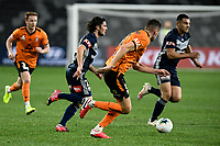 29th July 2020; Bankwest Stadium, Parramatta, New South Wales, Australia; A League Football, Melbourne Victory versus Brisbane Roar; Marco Rojas of Melbourne Victory cuts across midfield followed by Macaulay Gillesphey of Brisbane Roar