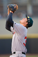 First baseman Austin Gallagher #35 of the Great Lakes Loons settles under a pop fly at Fifth Third Field April 22, 2009 in Dayton, Ohio. (Photo by Brian Westerholt / Four Seam Images)