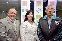 Orange Dominicana-ofrece coctel  a peloteros de l serie el Caribe.Pavel Aguilo, Claudia Escobar y Ruben Mijares.Foto:Saturnino Vasquez/acento.com.do.Fecha:02/02/2012.