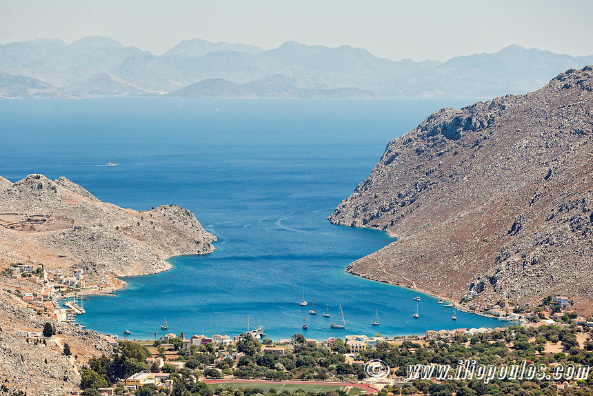 The bay of Pedi in Symi island, Greece