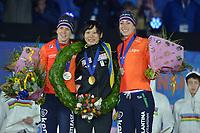 SCHAATSEN: AMSTERDAM: Olympisch Stadion, 10-03-2018, WK Allround, Coolste Baan van Nederland, Final Podium Ladies, Ireen Wüst (NED), Miho Takagi (JPN), Annouk van der Weijden (NED), ©foto Martin de Jong