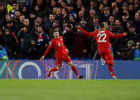 25th February 2020; Stamford Bridge, London, England; UEFA Champions League Football, Chelsea versus Bayern Munich; Robert Lewandowski of Bayern Munich celebrates with Serge Gnabry of Bayern Munich after scoring his sides 3rd goal in the 76th minute to make it 0-3 into an open net