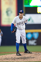 Durham Bulls starting pitcher Blake Snell (37) looks to his catcher for the sign against the Indianapolis Indians at Durham Bulls Athletic Park on August 4, 2015 in Durham, North Carolina.  The Indians defeated the Bulls 5-1.  (Brian Westerholt/Four Seam Images)