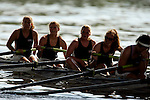 The team from the University of Connecticut reacts after crossing the finish line in the Women's JV Heavyweight Eight Final during the 68th Dad Vail Regatta on the Schuylkill River in Philadelphia, Pennsylvania on May 13, 2006...................