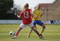 Andrine Tomter of Norway tackles Fanny Andersson of Sweden during the UEFA Womens U19 Championships at Stebonheath park Sunday 25th August 2013. All images are the copyright of Jeff Thomas Photography-www.jaypics.photoshelter.com-07837 386244-Any use of images must be authorised by the copyright owner.