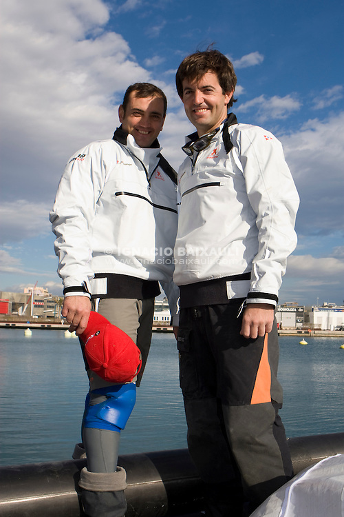 K-Challenge training for Luis Vuitton Pacific Series, with the visit of Raphael Ibañez (french rugby player) and Robert Pirès (french soccer player). K-Challenge Base, Valencia, Spain