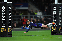 Finn Russell of Scotland dives over to score a try during the Guinness Six Nations Calcutta Cup match between England and Scotland at Twickenham Stadium on Saturday 16th March 2019 (Photo by Rob Munro/Stewart Communications)