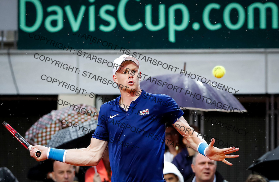 Davis Cup 2016 Quarter Final<br /> Srbija v Velika Britanija<br /> Janko Tipsarevic SRB v Kyle Edmund GBR<br /> Kyle Edmund<br /> Beograd, 15.07.2016.<br /> Foto: Srdjan Stevanovic/Starsportphoto.com&copy;