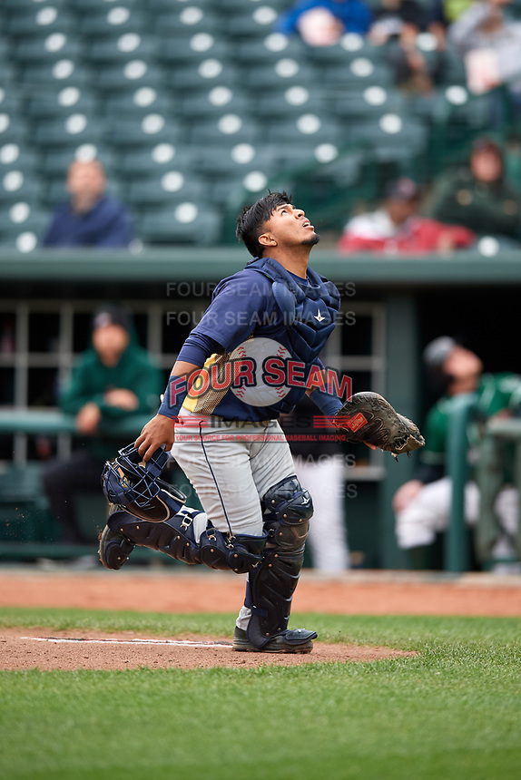 Burlington Bees catcher Mario Sanjur (26) tracks a pop up during a game against the Great Lakes Loons on May 4, 2017 at Dow Diamond in Midland, Michigan.  Great Lakes defeated Burlington 2-1.  (Mike Janes/Four Seam Images)