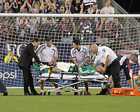 Injured New England Revolution goalkeeper Preston Burpo (24). The New England Revolution defeated the New York Red Bulls, 3-2, at Gillette Stadium on May 29, 2010.