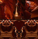 Eye of the Bear, Spirit Dance, Chimney, Bison Skull and Fractal Entrance, Composite Image, Upper Antelope Canyon, Tse-Bighanilini, Slot Canyon, Lake Powell Navajo Tribal Park, Page, Arizona
