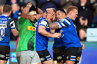 Ross Batty of Bath Rugby celebrates his second half try with team-mate Anthony Perenise. Gallagher Premiership match, between Bath Rugby and Harlequins on March 2, 2019 at the Recreation Ground in Bath, England. Photo by: Patrick Khachfe / Onside Images