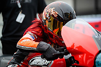 Mar 16, 2019; Gainesville, FL, USA; NHRA pro stock motorcycle rider Angelle Sampey during the Gatornationals at Gainesville Raceway. Mandatory Credit: Mark J. Rebilas-USA TODAY Sports