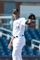 Peoria Javelinas relief pitcher Miguel Sanchez (35), of the Milwaukee Brewers organization, during an Arizona Fall League game against the Glendale Desert Dogs at Peoria Sports Complex on October 22, 2018 in Peoria, Arizona. Glendale defeated Peoria 6-2. (Zachary Lucy/Four Seam Images)