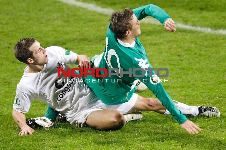 DFB Pokal 2007/2008 2.  Hauptrunde - Weser Stadion<br /> Werder Bremen U23 - FC St. Pauli<br /> Max Kruse (Bremen U23 #10) wird gefoult<br /> <br /> <br /> Foto &copy; nph (  nordphoto  )<br /> <br />  *** Local Caption ***