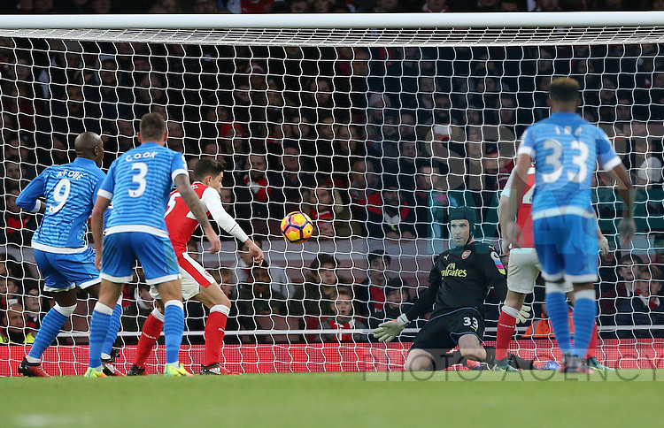 Arsenal's Petr Cech saves from point blank range during the Premier League match at the Emirates Stadium, London. Picture date October 26th, 2016 Pic David Klein/Sportimage