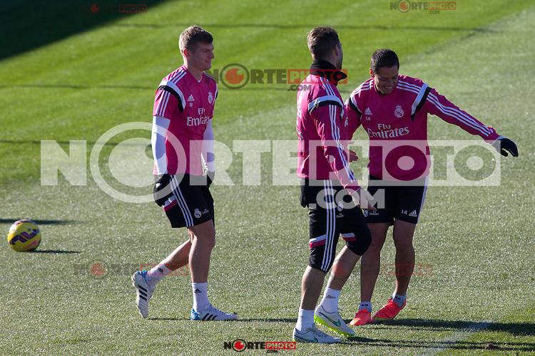 Toni Kroos, Chicharito, Sergio Ramos during a sesion training at Real Madrid City in Madrid. January 23, 2015. (ALTERPHOTOS/Caro Marin) /NortePhoto<br /> NortePhoto.com
