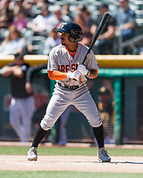 Tony Kemp (5) of the Fresno Grizzlies at bat against the Salt Lake Bees in Pacific Coast League action at Smith's Ballpark on April 16, 2017 in Salt Lake City, Utah. Salt Lake defeated Fresno 5-4. (Stephen Smith/Four Seam Images)