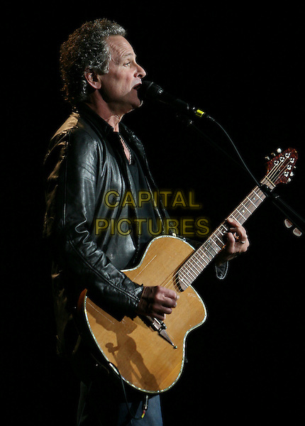 "LINDSEY BUCKINGHAM.performs live at The Grove of Anaheim in support of his new album ""Under the Skin""  Anaheim, California, USA, November 03 rd 2006..half length guitar concert music gig live on stage.Ref: DVS.www.capitalpictures.com.sales@capitalpictures.com.©Debbie VanStory/Capital Pictures"