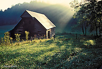 Shaft of light on barn at Tipton Place, Cades Cove, Great Smoky Mountains National Park, Tennessee