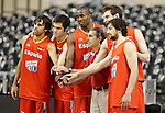 Spain's coach Sergio Scariolo (c-r) with the players rookies in the Olympic Games Victor Sada (l), Fernando San Emeterio (2-l), Serge Ibaka (c-l), Victor Claver (2-r) and Sergio LLull (r) during training session.July 24,2012(ALTERPHOTOS/Acero)