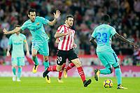 Athletic de Bilbao's Aritz Aduriz (l) and FC Barcelona's Sergio Busquets (l) and Samuel Umtiti during La Liga match. October 28,2017. (ALTERPHOTOS/Acero) /NortePhoto.com