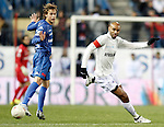 Real Madrid's Sergio Canales and Sevilla's Frederic Kanoute during UNICEF match. December, 29 2010. (ALTERPHOTOS/Alvaro Hernandez)