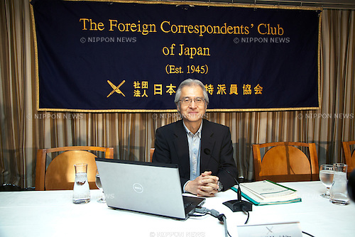 Tokyo, Japan – The Japan's Commissioner to the International Whaling Commission (IWC) Joji Morishita attends a press conference at the Foreign Correspondents Club in Japan on June 10, 2014. Morishita speaks about the recently resolution from the International Court of Justice which ordered to Japan to halt its Antarctic whale hunt, that violated an international moratorium on commercial whaling. (Photo by Rodrigo Reyes Marin/AFLO)