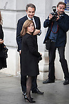 Former President Jose Luis Rodriguez Zapatero and politician Soraya Saez de Santamaria arrive to the state funeral for former Spanish prime minister Adolfo Suarez at the Almudena Cathedral in Madrid, Spain. March 31, 2014. (ALTERPHOTOS/Victor Blanco)
