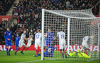 An injury time goal from Jack Stephens (6)(Southampton) of England (right) gives England a 3 2 victory during the Under 21 International Friendly match between England and Italy at St Mary's Stadium, Southampton, England on 10 November 2016. Photo by Andy Rowland.