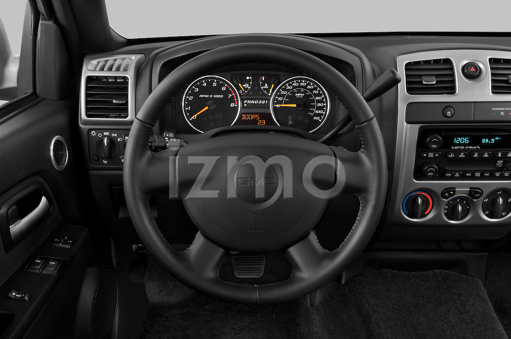 Steering wheel view of a 2009 GMC Canyon SLE Extended Cab
