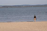 beach with a single woman arcachon bordeaux france
