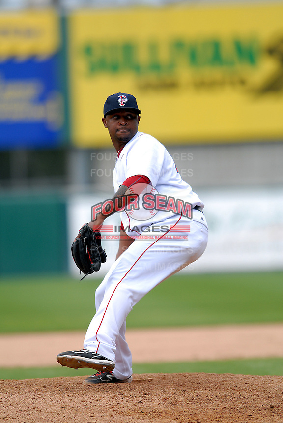 Pitcher Jason Rice #45 of the Pawtucket Red Sox during a game versus the Gwinnett Braves on May 12, 2011 at McCoy Stadium in Pawtucket, Rhode Island. Photo by Ken Babbitt /Four Seam Images