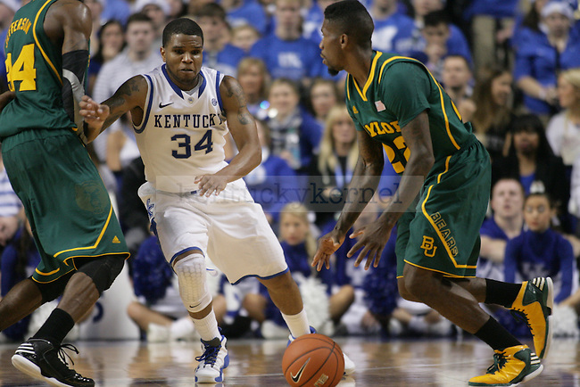 Graduate Guard Julius Mays, defends for the ball during the University of Kentucky basketball game against Baylor at Rupp Arena on Saturday December 1st, 2012. Kentucky lost to Baylor 64 to 55. Photo by Kirsten Holliday | Staff