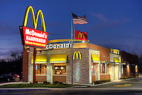 Dusk shot of an American Icon, the world reknown fast food restaurant by McDonalds in South Elgin, IL.