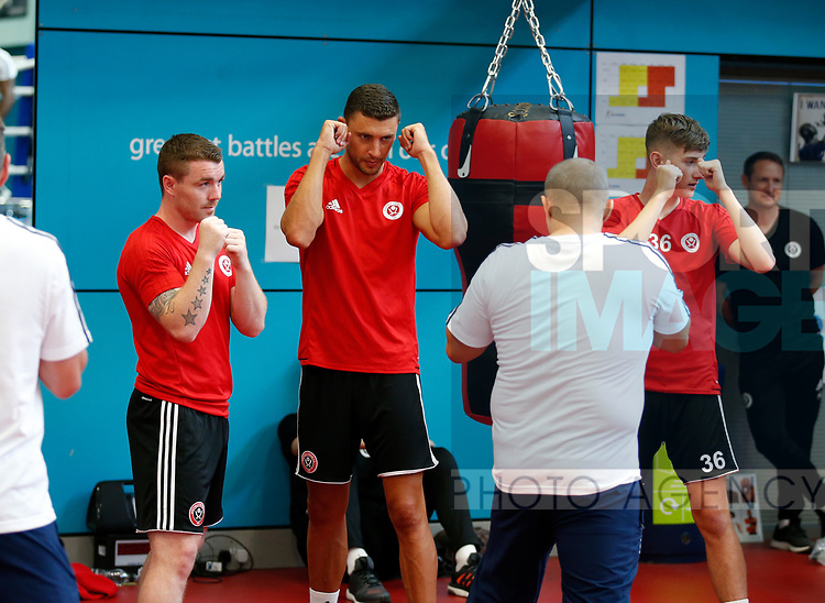 John Fleck and James Wilson during the pre season training, boxing session  at English Institute of Sport, Sheffield. Picture date 6th July 2017. Picture credit should read:Simon Bellis/Sportimage