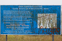 Pictured: A Crymlyn Burrows sign.<br /> Re: A Bomb Disposal Unit was called after a bomb was discovered at a scrap yard in Skewen near Neath, and then transported to Crymlyn Burrows beach for a controlled explosion in south Wales, UK.