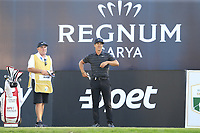 Thorbjorn Olesen (DEN) on the 18th tee during Saturday's Round 3 of the 2018 Turkish Airlines Open hosted by Regnum Carya Golf &amp; Spa Resort, Antalya, Turkey. 3rd November 2018.<br /> Picture: Eoin Clarke | Golffile<br /> <br /> <br /> All photos usage must carry mandatory copyright credit (&copy; Golffile | Eoin Clarke)