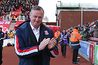Stoke City Manager Michael O'Neil applauds the supporters before the game.  Stoke City vs Charlton Athletic, Sky Bet EFL Championship Football at the bet365 Stadium on 8th February 2020