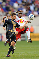 Cristian Arrieta (26) of the Philadelphia Union and Ibrahim Salou (29) (R) of the New York Red Bulls go for a ball during a Major League Soccer (MLS) match at Red Bull Arena in Harrison, NJ, on April 24, 2010.