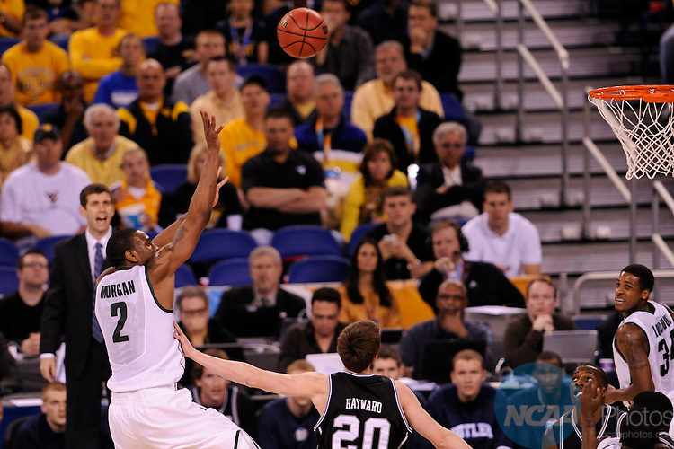 3 APR 2010:  Raymar Morgan (2) of Michigan State University shoots over Gordon Hayward (20) of Butler University during the NCAA Division I Men's Basketball Semifinal game held at the Lucas Oil Stadium in Indianapolis, IN. Butler University went on to defeat Michigan State University 52-50 to advance to the championship game. Brett Wilhelm/NCAA Photos