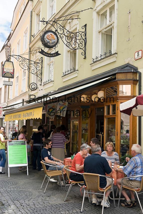 Austria, Lower Austria, UNESCO World Heritage Wachau, Krems: Old Town, pedestrian area Untere Landstrasse with cafe and pastry shop Hagmann